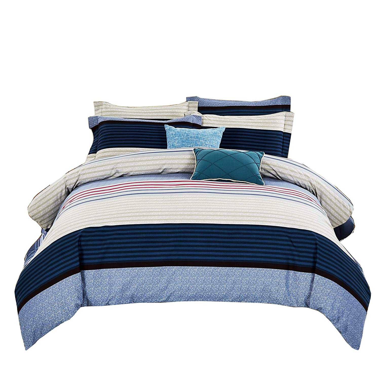 DelbouTree 3pcs Bedding Set, Lightweight Microfiber Duvet Cover Set, Full Queen size Royal Stripe Sweet-Home Team SHT-DC-RoyalSTP-F/Queen02-CA