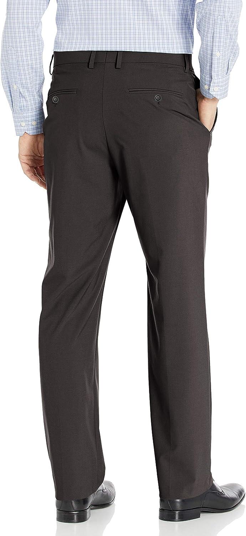 J.M Haggar Mens Solid Stretch Classic Fit Flat Front Dress Pant 34Wx29L Charcoal