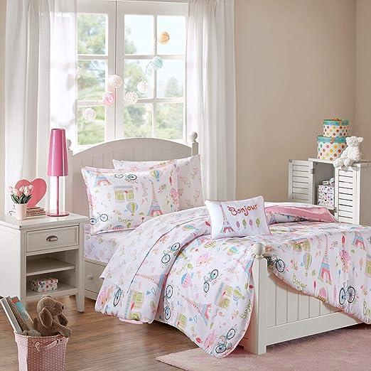 Amazon Com Mi Zone Kids Bonjour Twin Comforter Sets For Girls Pink French Paris 6 Pieces Kids Girl Bedding Set Ultra Soft Microfiber Childrens Bedroom Bed Comforters Mzk10 106 Home Kitchen