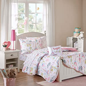 Mi Zone Kids Bonjour Twin Comforter Sets for Girls - Pink, French Paris – 6 Pieces Kids Girl Bedding Set – Ultra Soft Microfiber Childrens Bedroom Bed Comforters