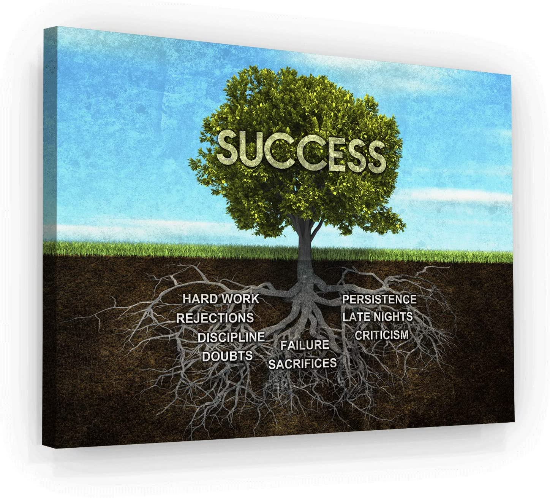 Success Tree Motivational Wall Art Canvas Print, Office Decor, Inspiring Framed Prints, Inspirational Entrepreneur Quotes for Wall Art Decoration (36