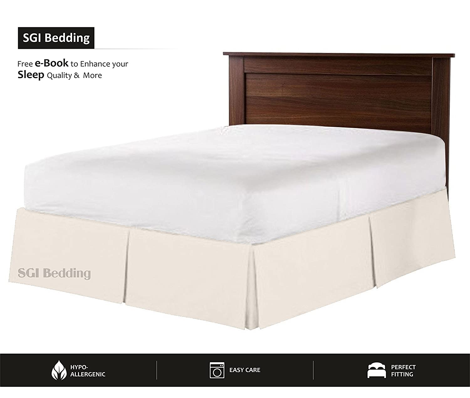 550 TC Egyptian Cotton Bedding 1X Bed Skirt 12 Inch Drop King (78X80) Ivory Solid SGI bedding
