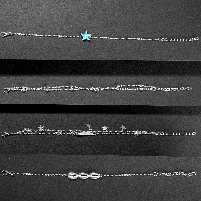 Hicarer 25 Pi/èces Cha/înes de Cheville Bracelets R/églables Anklets de Plage Cheville Boho Bijoux de Pied Ensemble pour Femme Fille Faveurs
