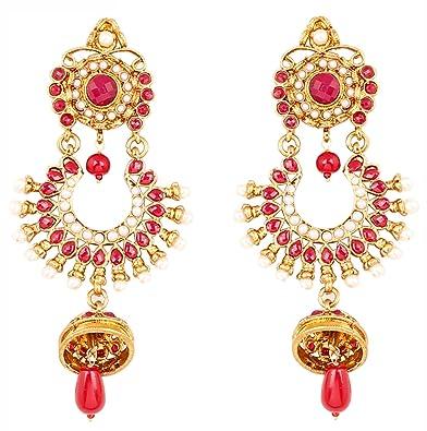 Royal Bling Stylish Party Wear Traditional Fuchsia Filigree Pearly Jhumka