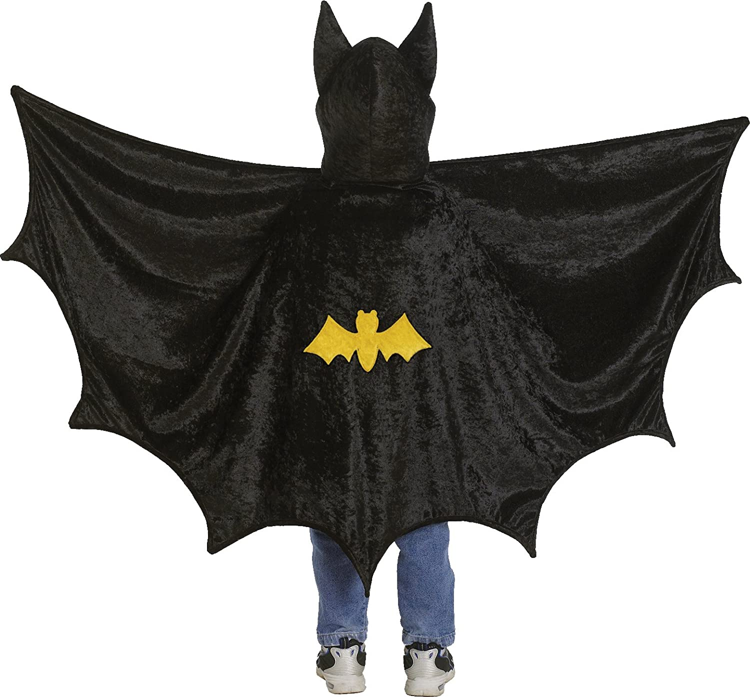 Youre playing batman count dracula or just a really really over sized bat this boys cape will suit any purpose the hood features large bat ears