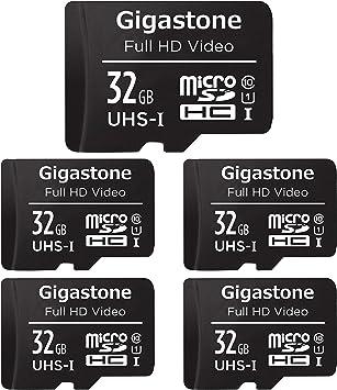 Gigastone Tarjeta de memòria Micro SDXC de 32GB con Adaptador SD, (Classe 10, U1,C10, 5 paquets). Velocidad de Lectura/Escritura hasta 90/20 MB/s.Compatible con Mòbil, cámara de Coche etc.: Amazon.es: Electrónica