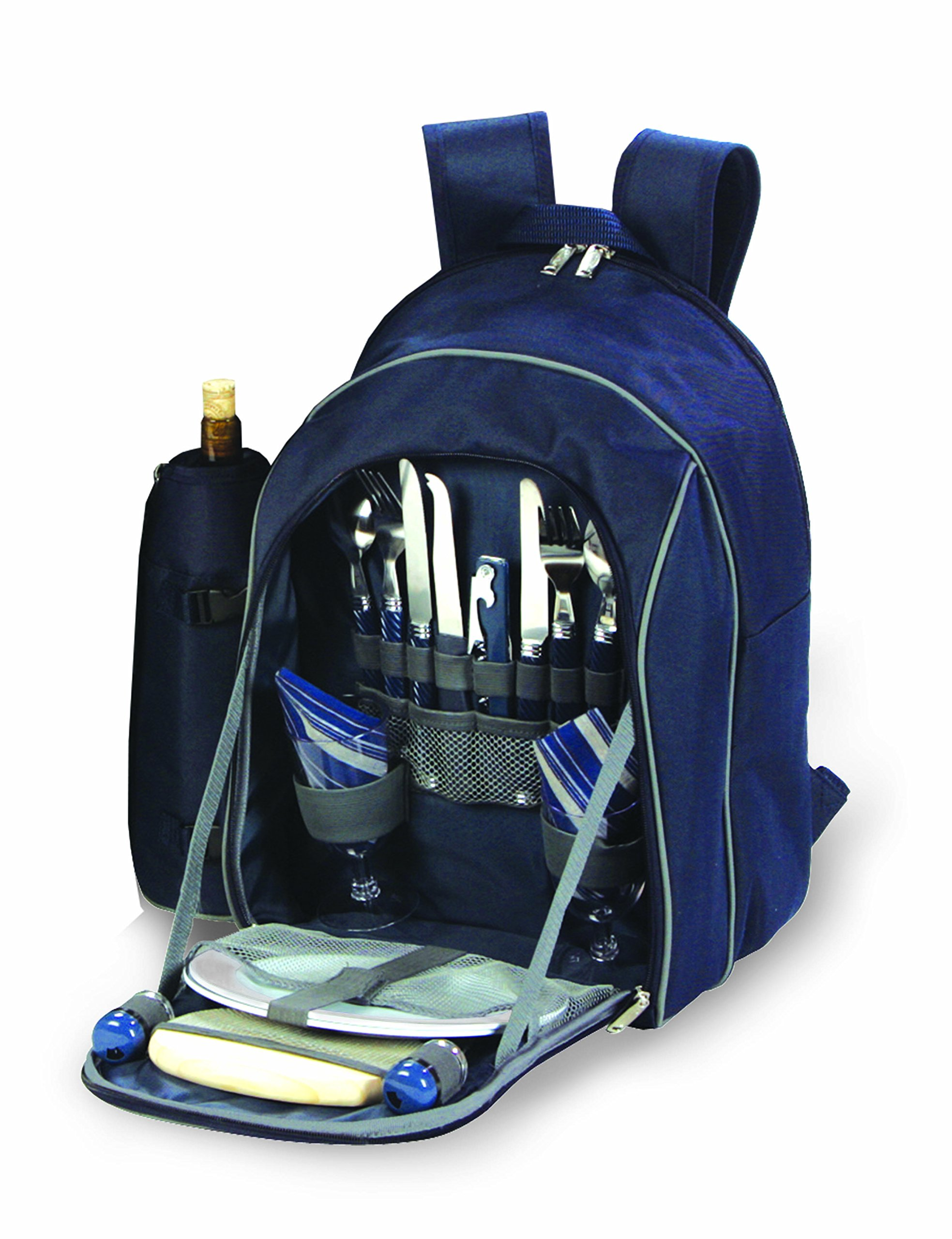 Picnic Plus Picnic Backpack for 2 - Complete Set includes Premium Stainless Steel Tableware, Cheese Board, Wine Opener, Insulated Food & Wine Cooler Bag, Total 17 components - by