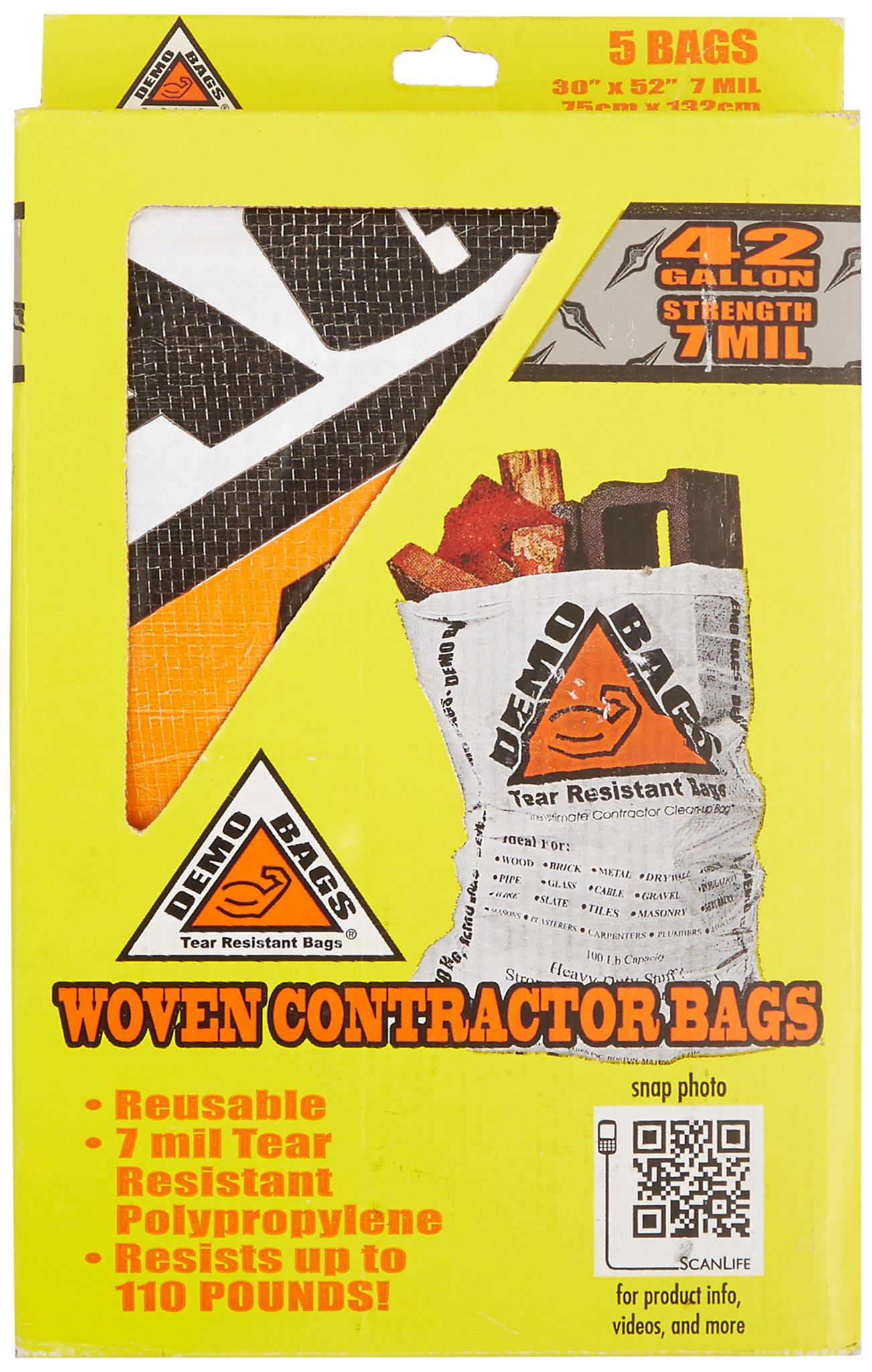 Demo Bags GIDDS2-2481110 Contractor Trash Bag (5 Bags Per Pack), 42 gallon