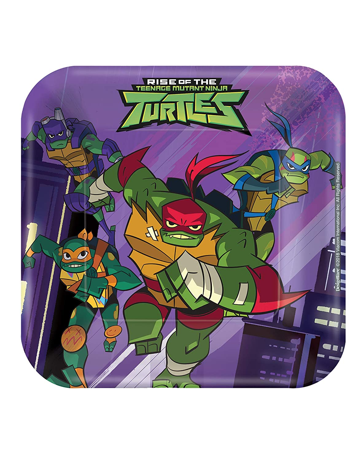 """Rise of the TMNT™ Square Plates, 7"""""""