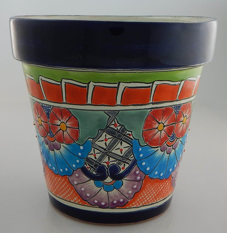 Mexican Talavera Planter Ceramic Flower Pot Folk Art Pottery Garden Handmade # 13
