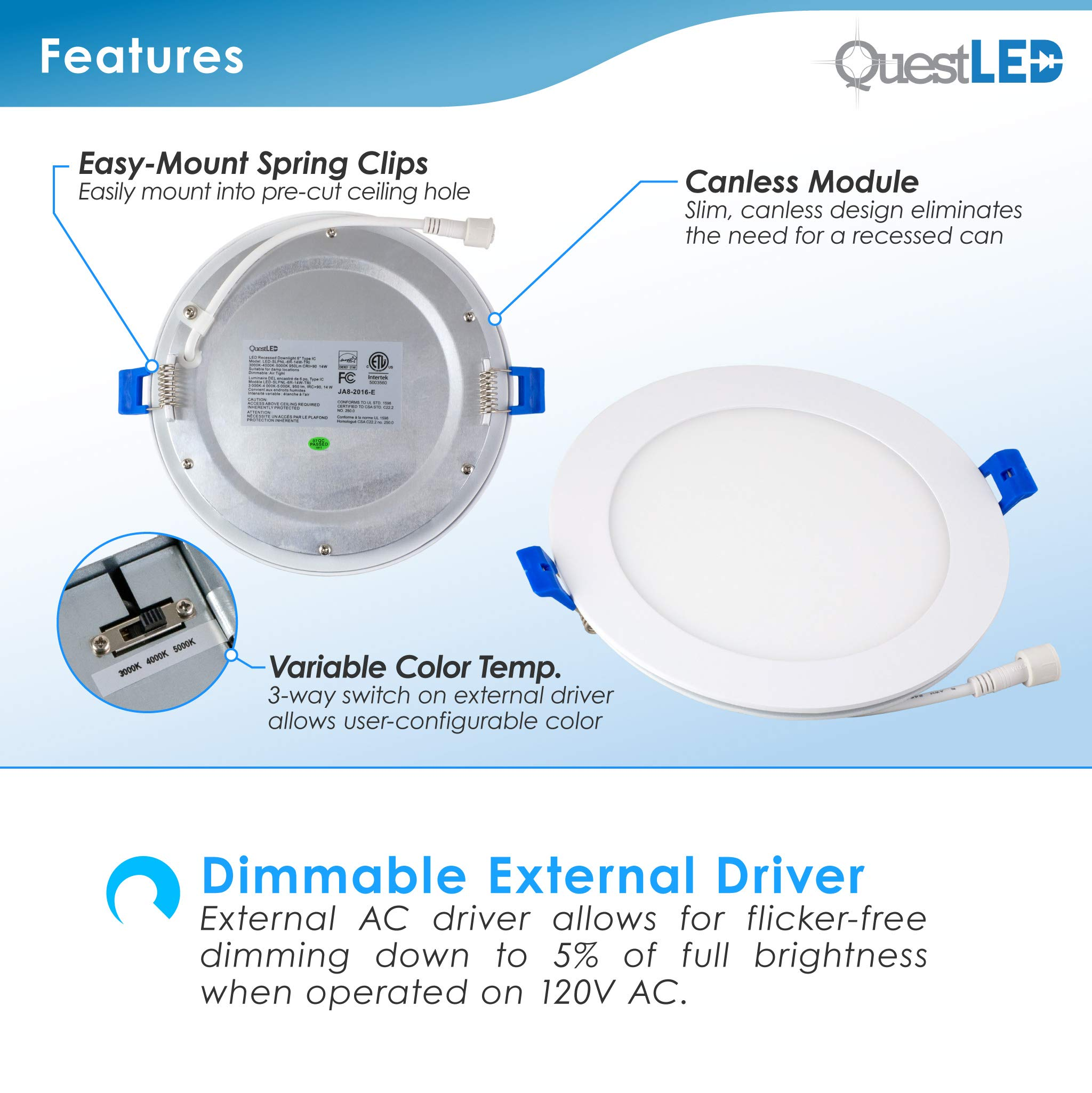 6'' Slim Recessed Panel Ceiling Downlight Ultra Thin Wafer with Junction Box; 14W=50W Equivalent; 3-in-1 CCT: 3000k/4000k/5000k, 950 lumens, 120V, Dimmable, IC Rated, ETL/ES/JA8 (18 Pack) by Quest LED (Image #6)