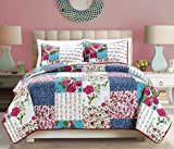 """Grand Linen 3-Piece Fine Patchwork printed Oversize (100"""" X 95"""") Quilt Set Reversible Floral Bedspread Coverlet FULL/QUEEN SIZE Bed Cover"""