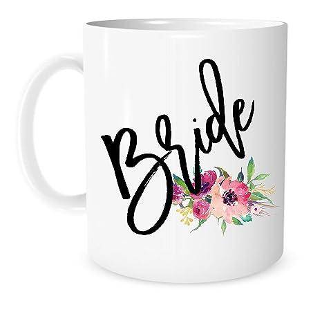 GiftBridal Ceramic 11 Shower Tea Wedding Bride The Engagement Ounce Coffee Corner White Mug Or xdCroBe