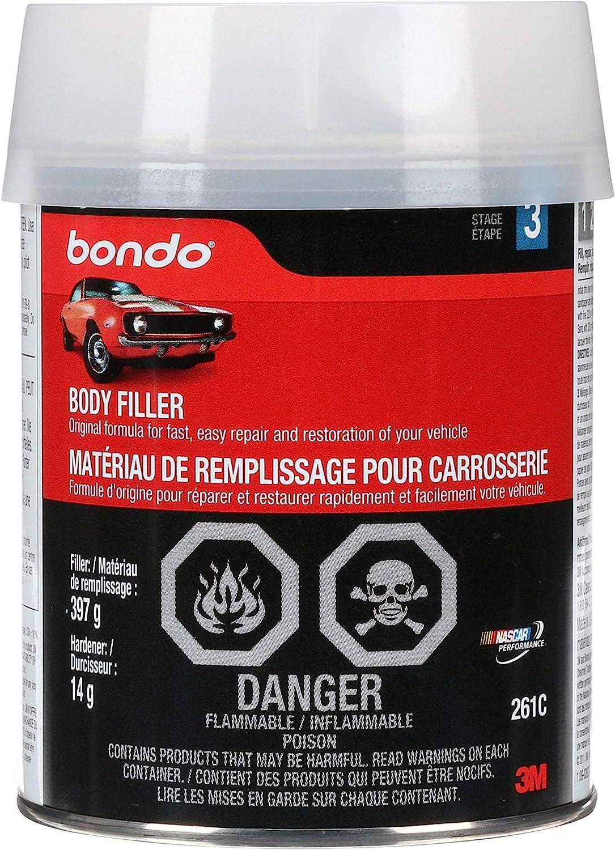 3M 261 Bondo Body Filler, Original Formula for Fast, Easy Repair & Restoration of Your Vehicle, 14 oz with 0.5 oz Hardener, Salmon: Garden & Outdoor