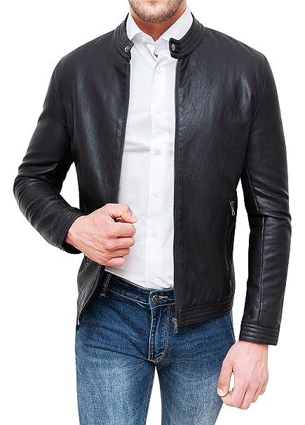 new styles bb001 3eed5 Giubbotto Uomo in Ecopelle Nero Slim Fit Giacca Giubbino Coreana Casual