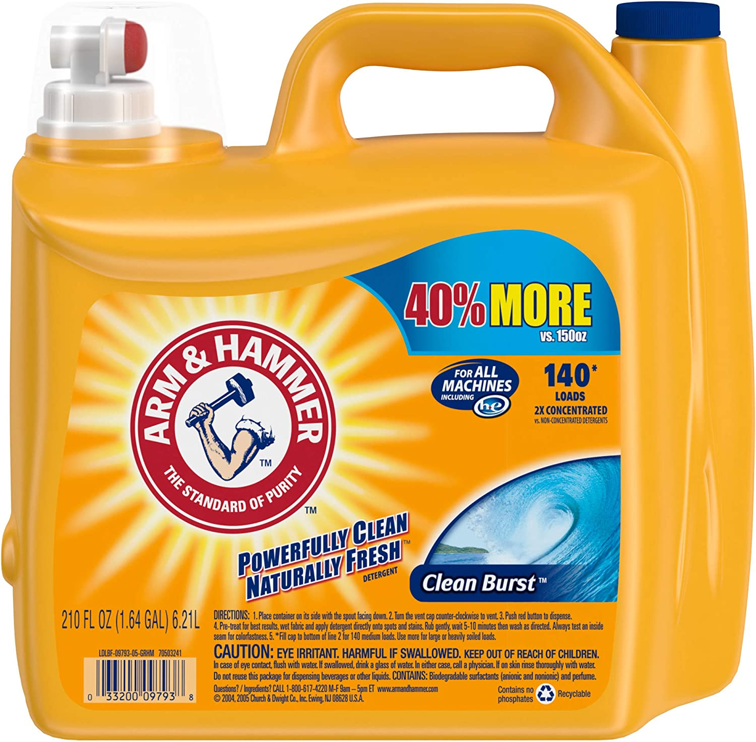 Arm & Hammer Clean Burst Liquid Laundry Detergent, 140 loads