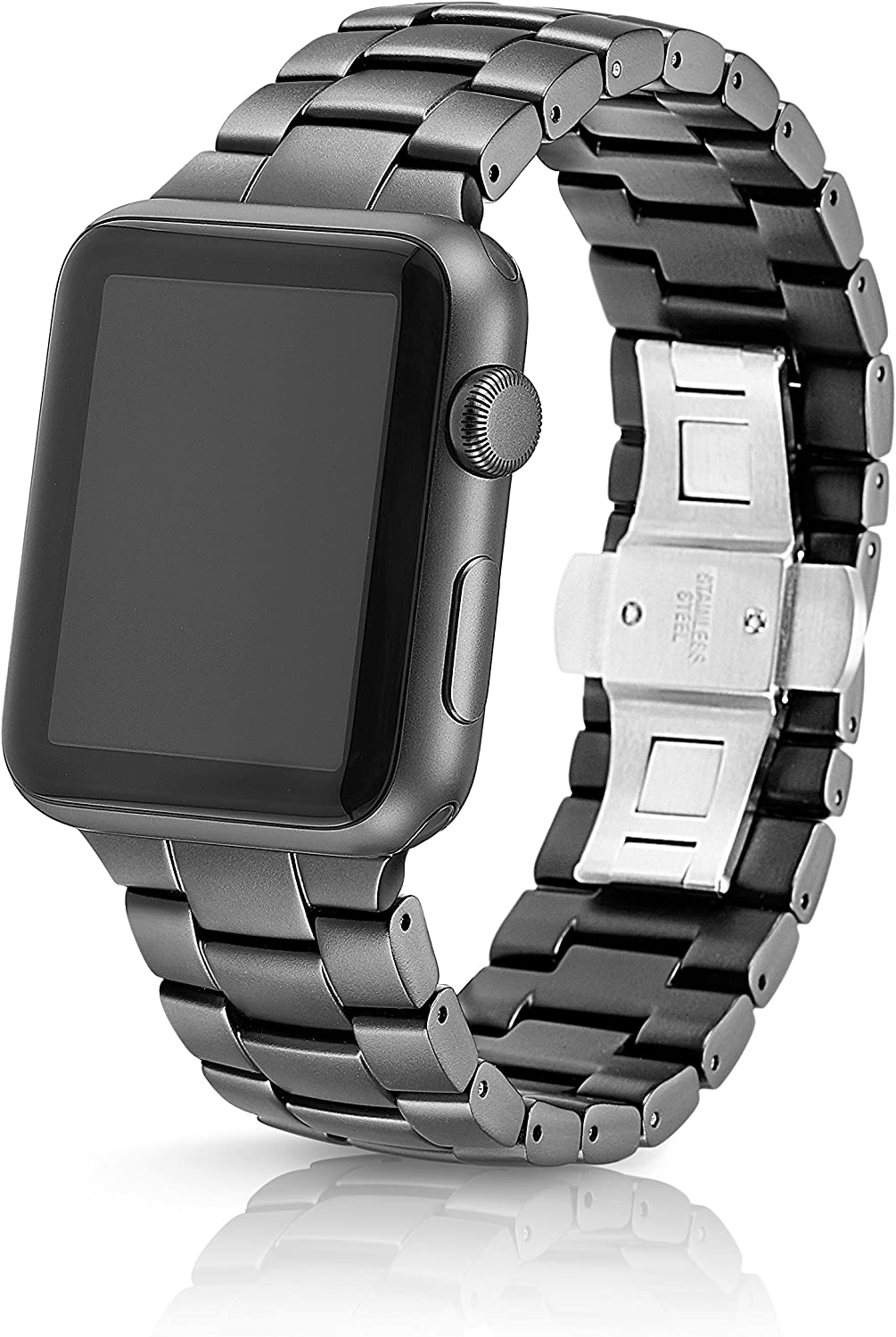 42/44mm JUUK Velo Premium Watch Band Made for The Apple Watch, Using Aircraft Grade, Hard Anodized 6000 Series Aluminum with a Solid Stainless Steel Butterfly deployant Buckle (Cosmic Grey) 81jkk1O1MvL