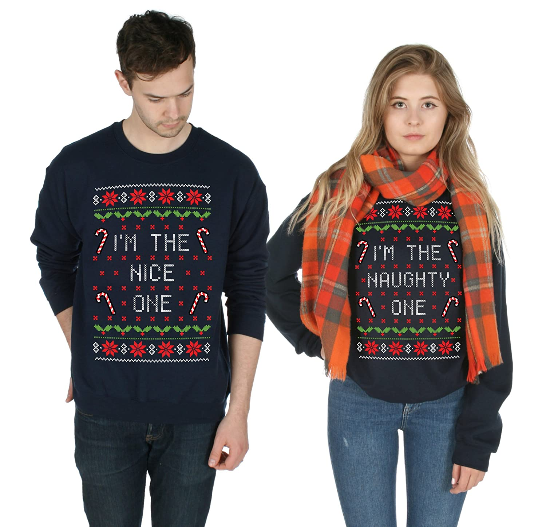 Odzież damska I'm The Nice Naughty One Matching Christmas Sweater Top Jumper Xmas Ugly BFF Swetry i dzianina