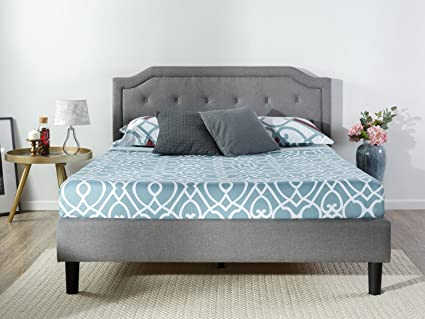 Zinus Kellen Upholstered Scalloped Button Tufted Platform Bed with Wooden Slat Support / Design Award Finalist, King