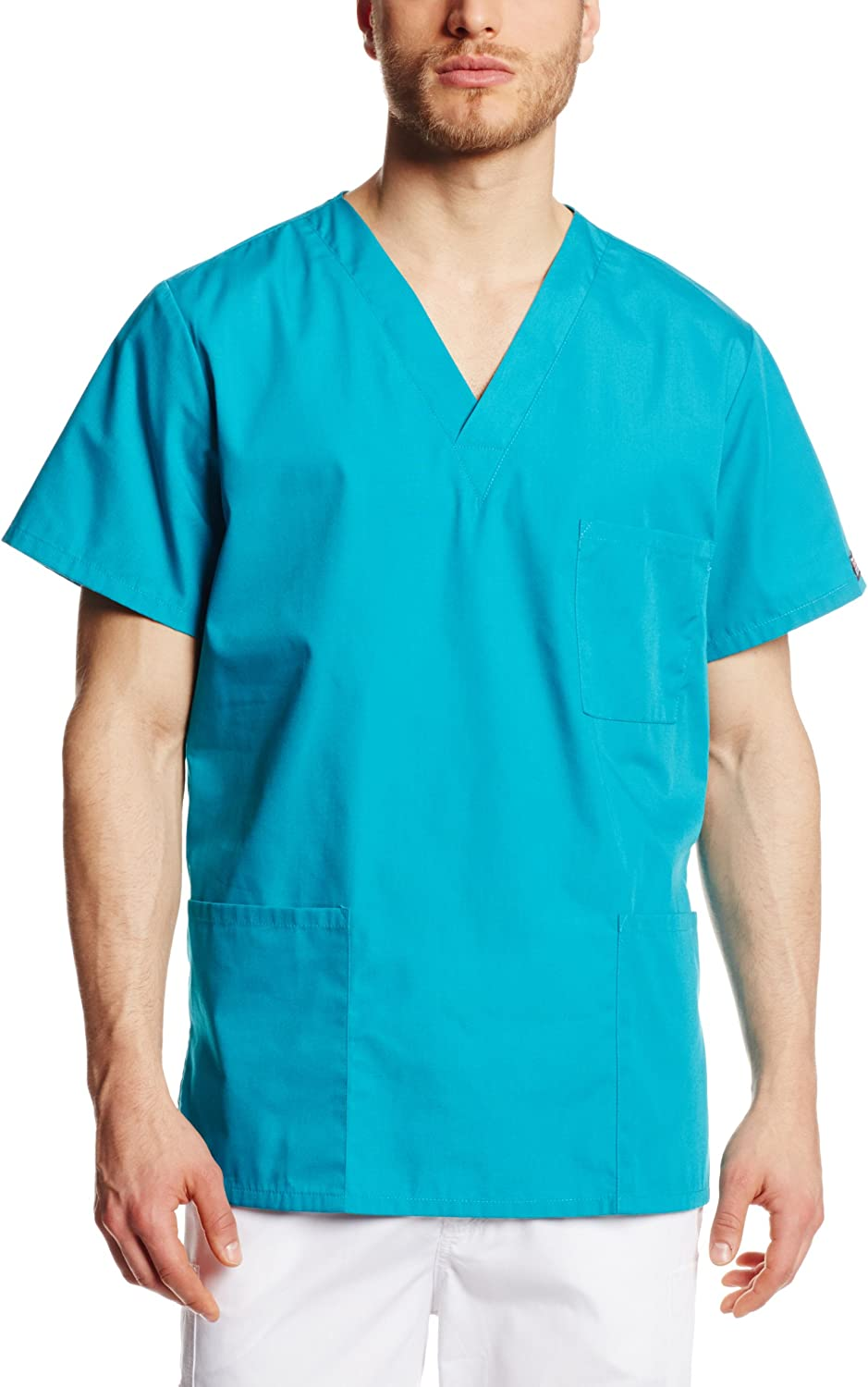 CHEROKEE womens Originals Unisex V-neck Top Medical Scrubs Shirt, Teal Blue, XX-Large US: Medical Scrubs Shirts: Clothing
