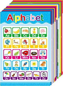 15 Educational Posters for Toddlers and Kids Preschool & Kindergarten Nursery Homeschool Classroom Decorations, Alphabet ABC Colors Numbers Days Shapes and More 13.5 x 9 inches