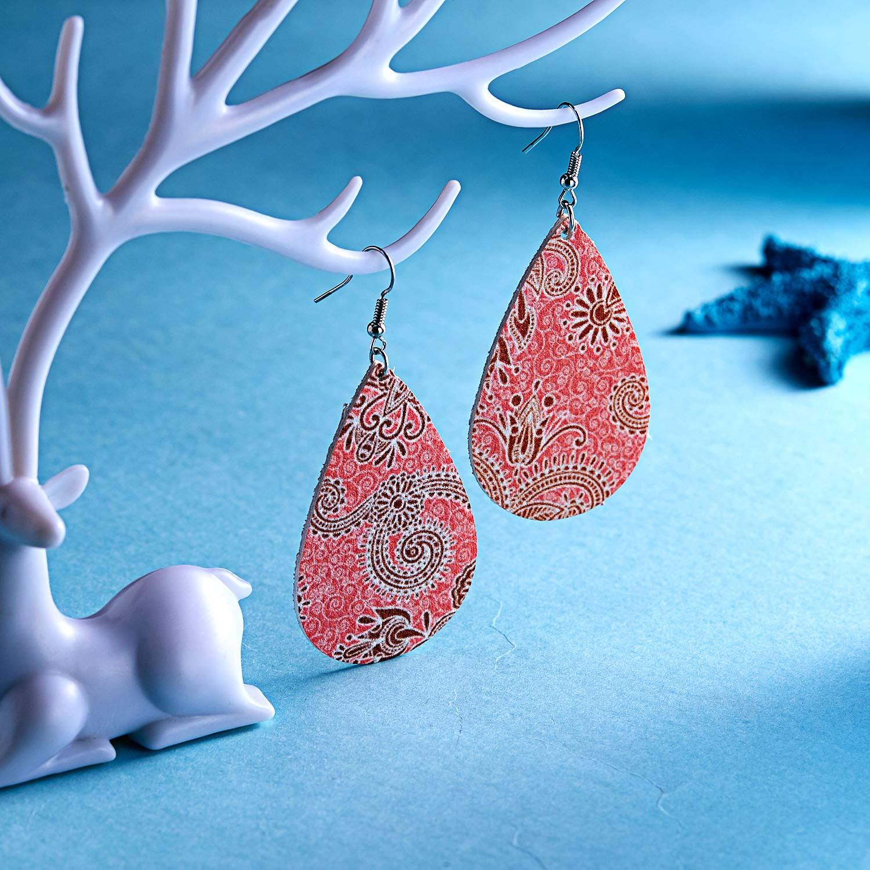 beemean 2 Pairs Teardrop Leather Earrings Lightweight Drop Faux Earrings Gift Women Girls