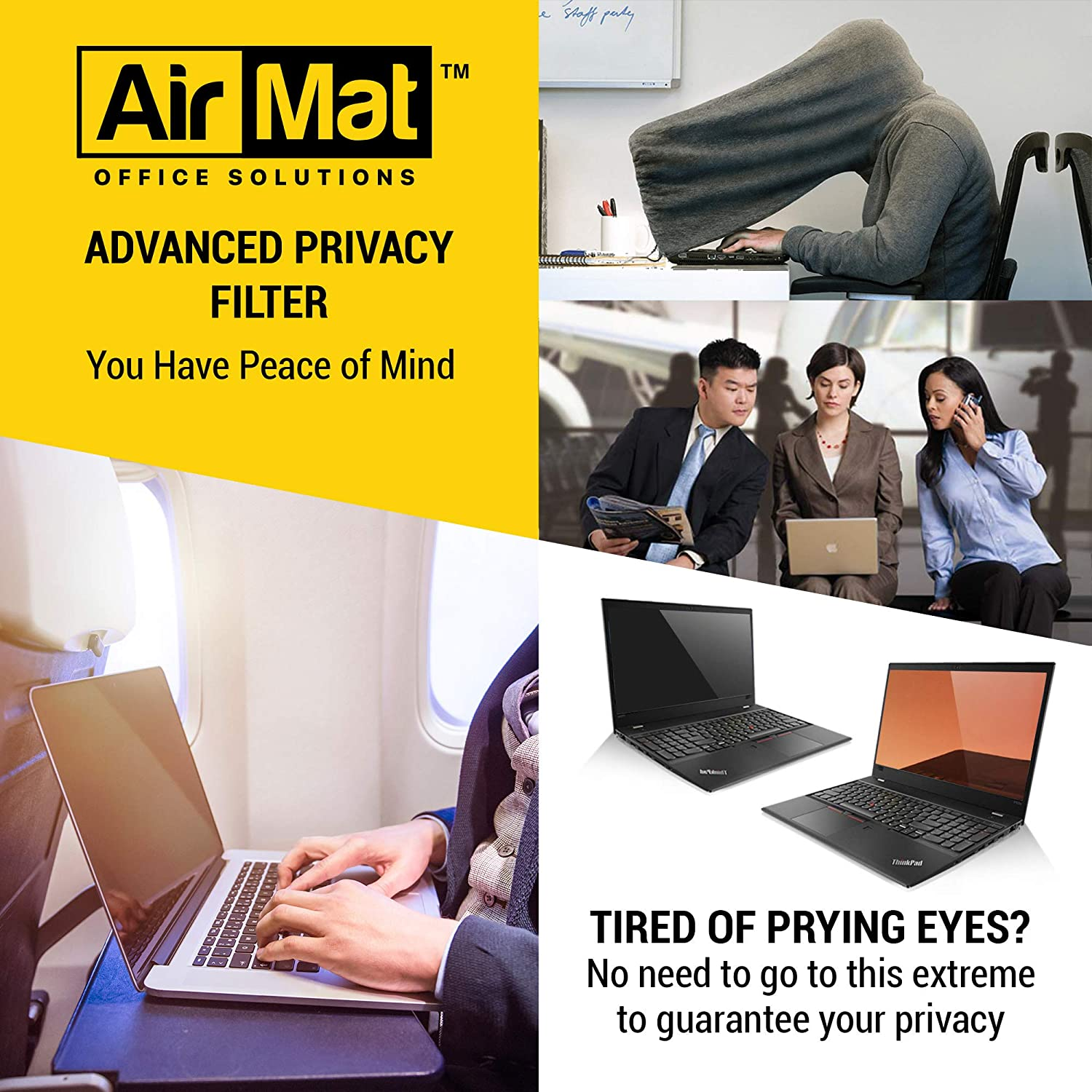 - Easy On//Off 16:9 Premium Anti Glare Protector AirMat 13.3 inch Removable Laptop Privacy Screen Filter for Flat Glass Widescreen Displays