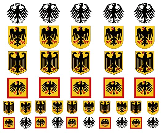 3d452748d3b40 Amazon.com: Germany Coat of Arms Eagle Flag Temporary Tattoos, German Party  Favors: Health & Personal Care