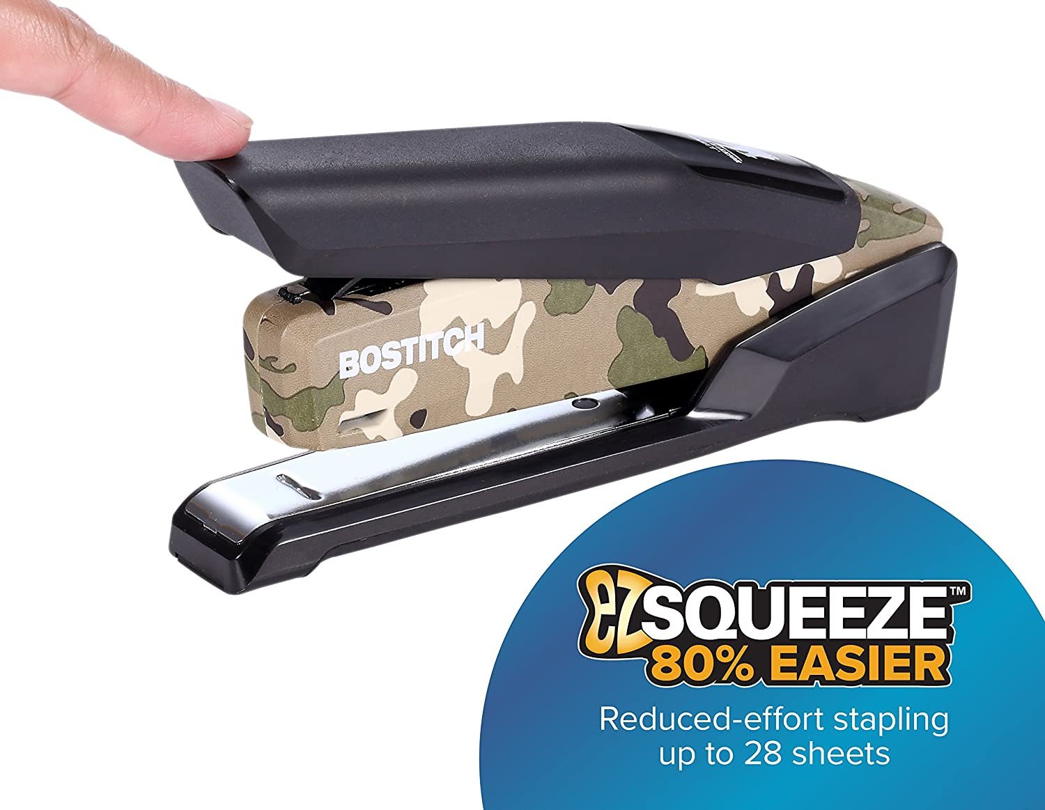 Bostitch Office Metal Spring Powered Stapler, One Finger, Supports Wounded Warrior Project, Camouflage (INP28-WW)