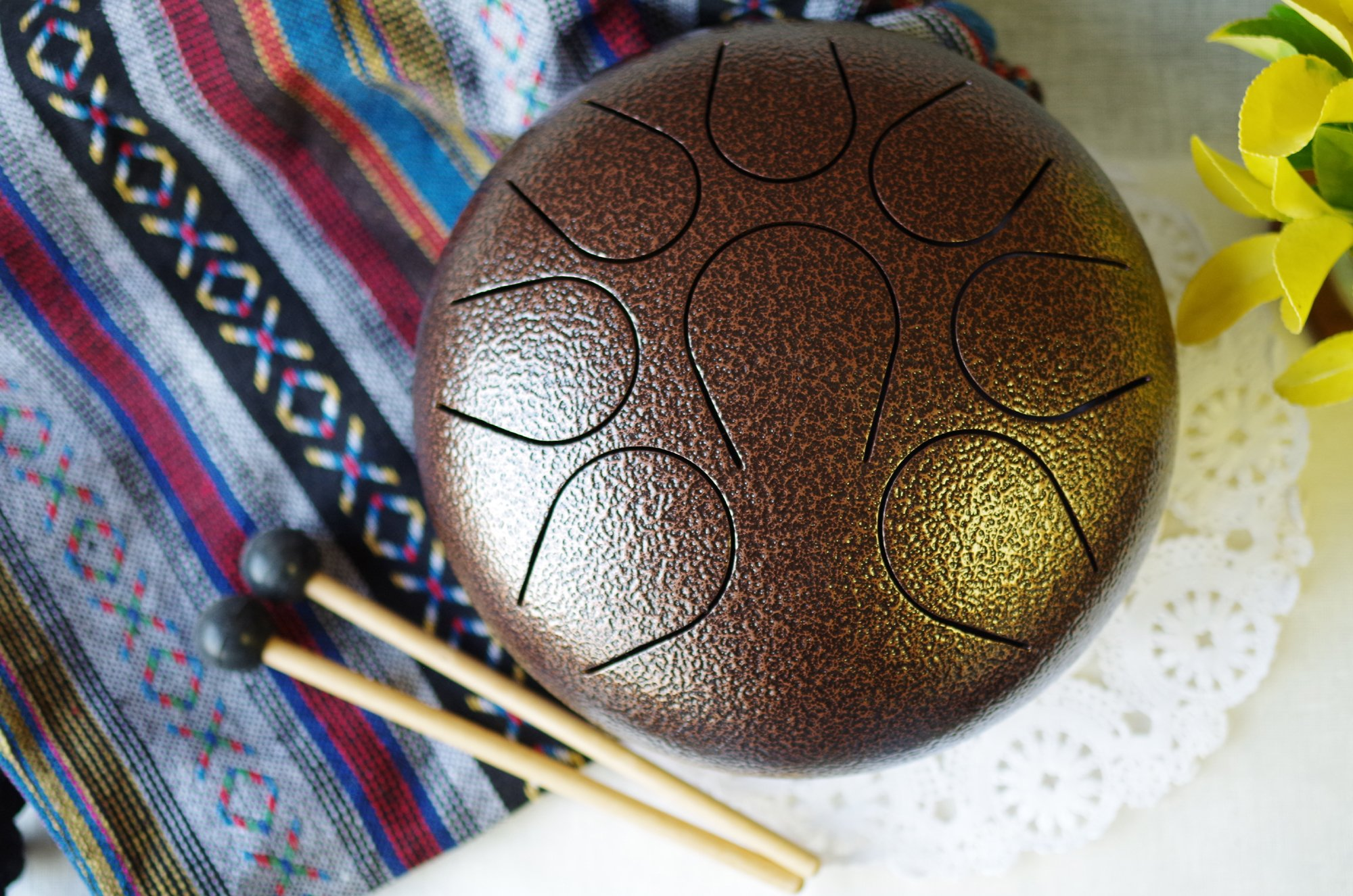 WuYou 9in Steel Tongue Drum Handpan drum Chakra drum Great Christmas New Year Gift B (Bronze)