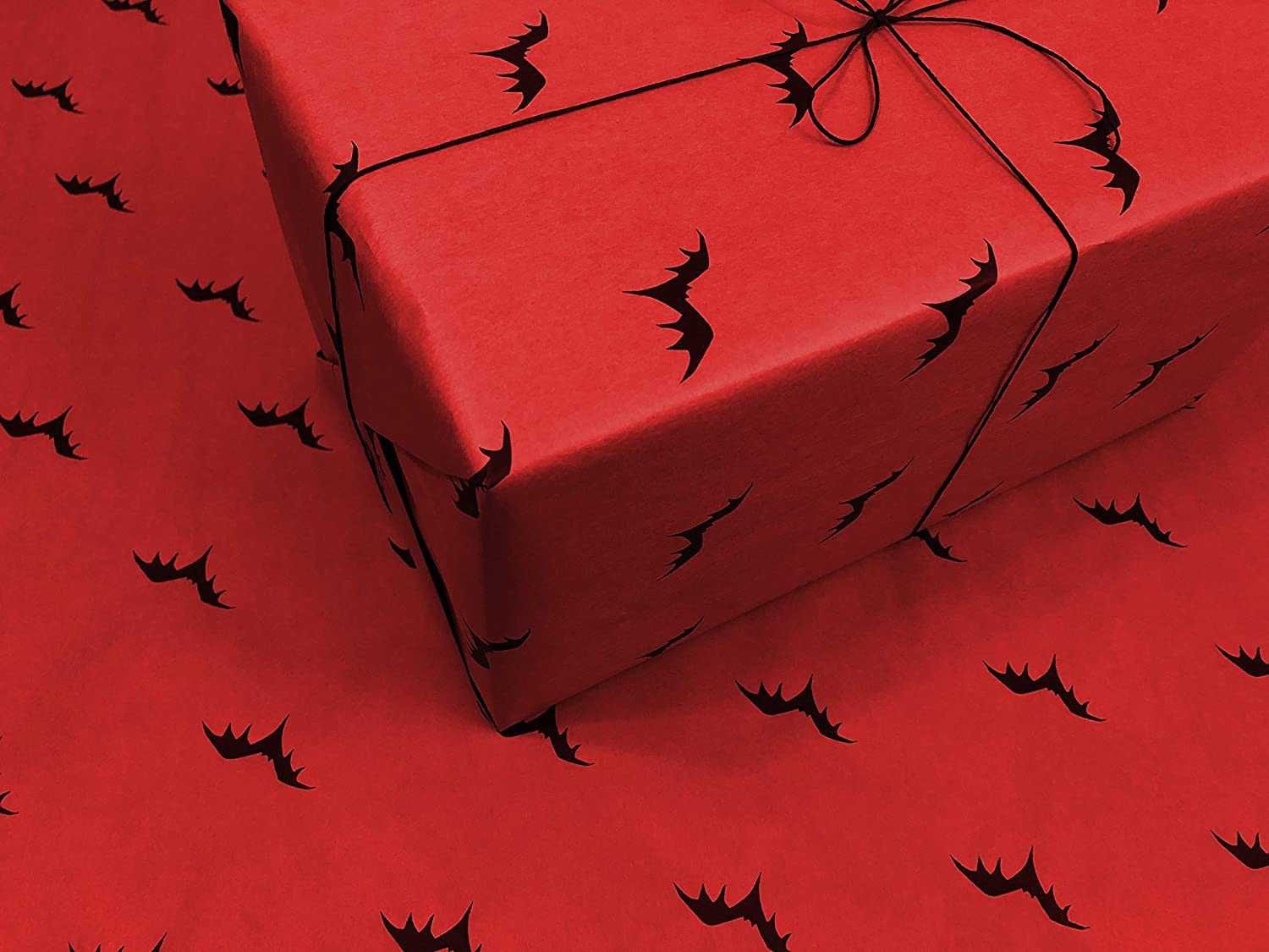 3 Pack! Assorted Gothic Wrapping Paper - Red Flying Bats, Purple Eyes and Green Spooky Black Lines - 3 Rolls of Handmade Gift Wrap