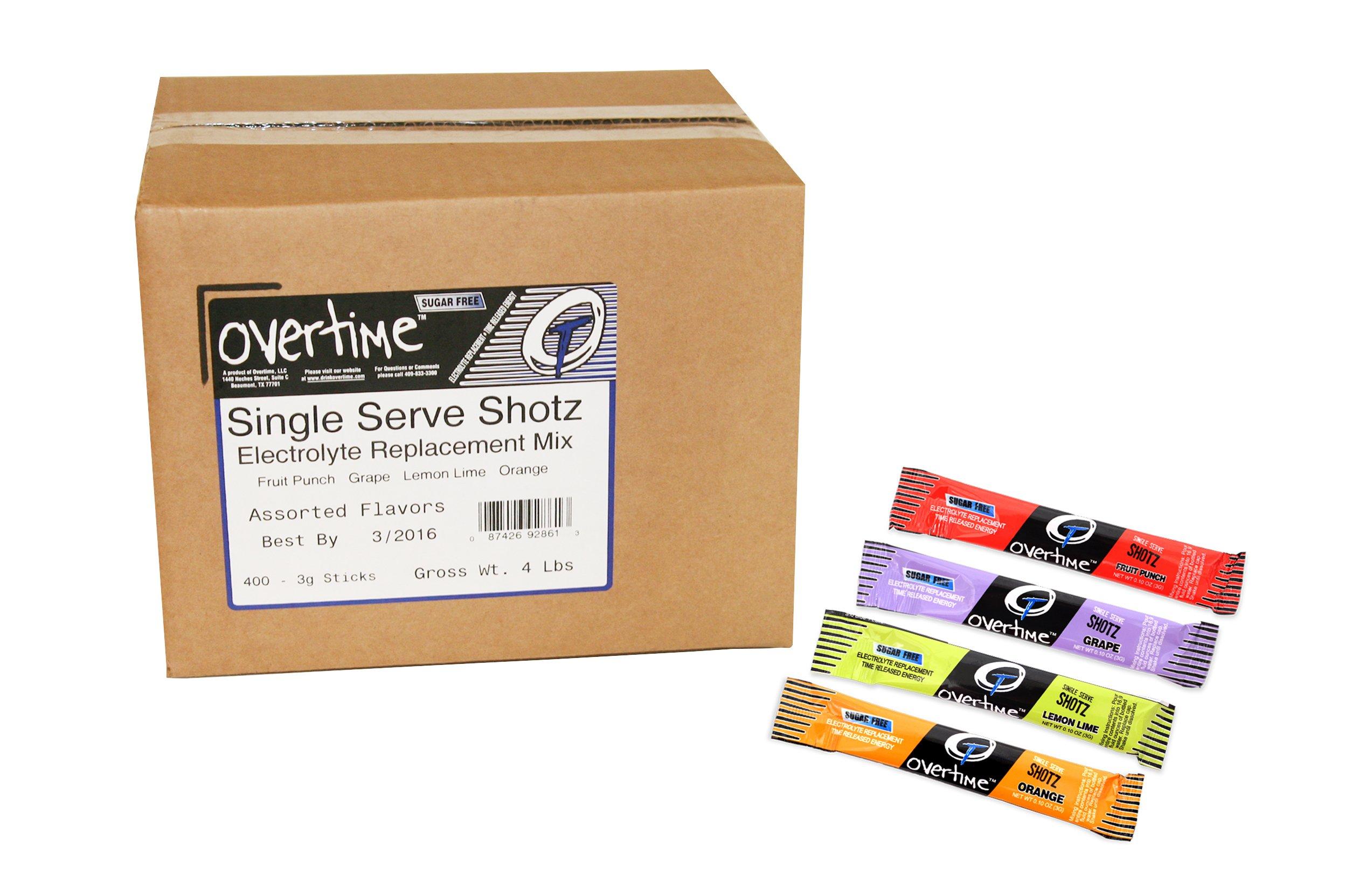 Overtime 55-SINGLE SERVE Shotz Variety Case, 8'' Height, 10'' Length, 8'' Width, Rectangle (Pack of 400)