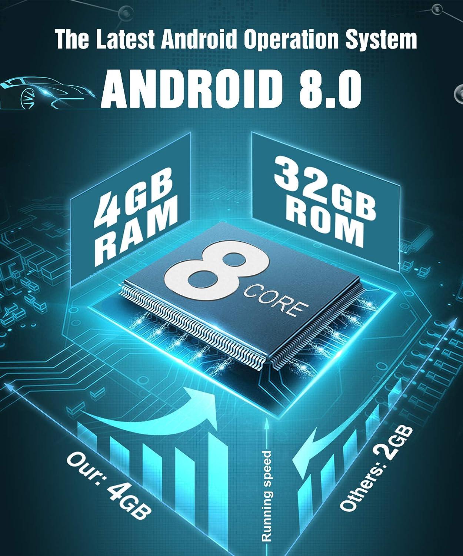 ROM 4 Go 32 Go supporte Bluetooth 3G WiFi USB SD RDS Radio Commande au Volant OBD2 Dab+ Pumpkin Android 8.0 Autoradio GPS 2 Din Ecran 7 Pouce RAM