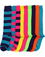 Women/Girl Bright Neon Assorted Color and Striped Knee High Socks 9 pairs