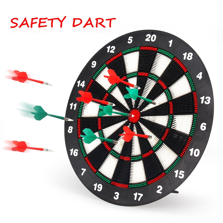 Geekper Safety Dart Board Set For Kids   16 Inch Rubber Dart Board With 6  Soft