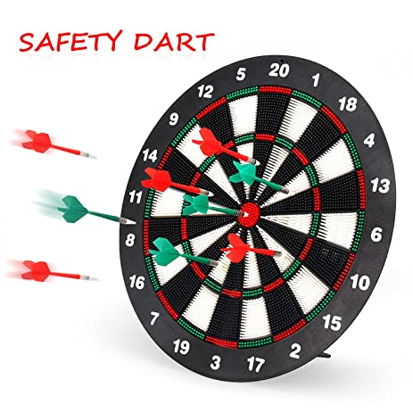Charmant Geekper Safety Dart Board Set For Kids   16 Inch Rubber Dart Board With 6  Soft