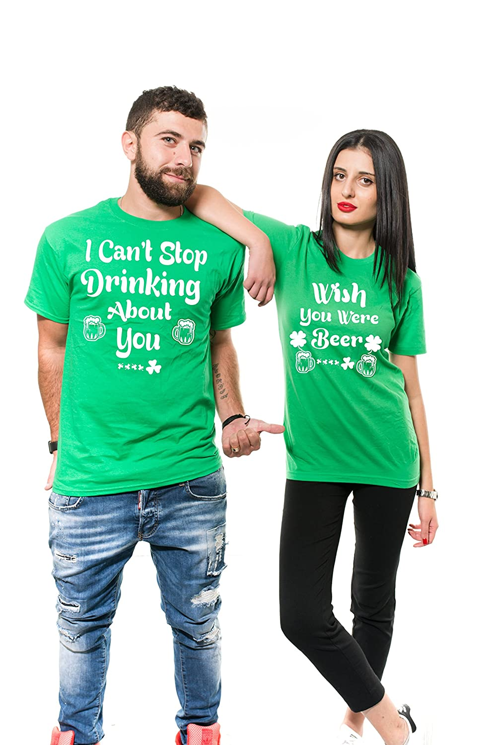 9fb0467c9 Amazon.com: Silk Road Tees ST Patricks Day Couple Matching Shirts Drinking  Party Paddy's Day Unisex Green Shirts for him for Her: Clothing