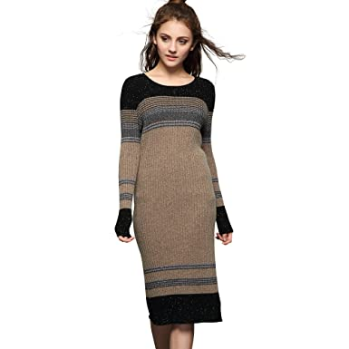 Chesslyre Women's 100% Cashmere Sweater Ribbed Dress, Back Slit ...