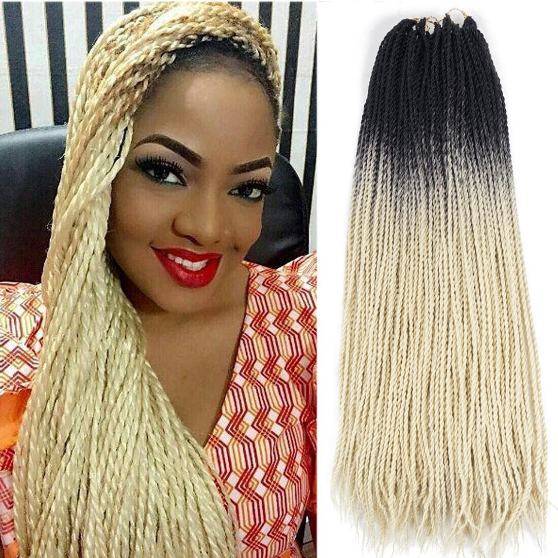 Amazoncom Ombre Senegalese Twist 2x Kanekalon Synthetic Crochet