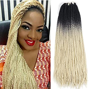 Ombre Senegalese Twist 2x Kanekalon Synthetic Crochet Braiding Hair 5 Packs Lot 24inch Black Blonde