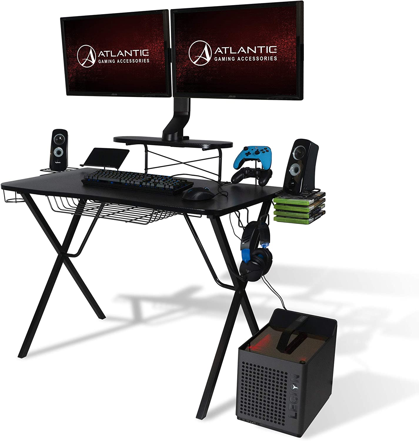 Atlantic Gaming Original Gaming-Desk Pro - Curved-Front, 10 Games, Controller, Headphone & Speaker Storage, 40.25x23.5 inch Curved Front Desktop, Enhanced Larger Design: Furniture & Decor
