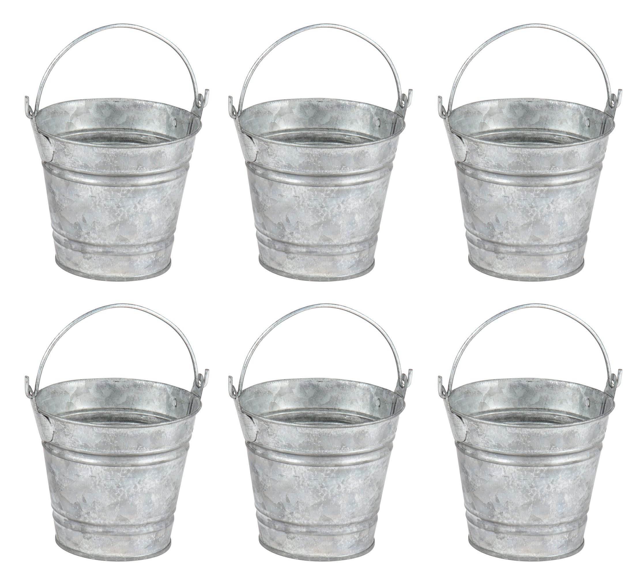 Juvale Mini Metal Buckets Handles - 6-Pack Party Tin Pail Containers Gifts, Candy, Party Favors, 2.8 inches Tall