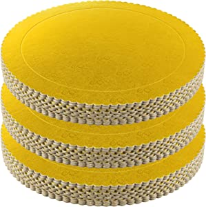 KEILEOHO 30 PCS 12 Inch Cake Boards, Round Cake Base,Cake Circles Food Class Gold Laminating Greaseproof Disposable Reusable Cardboard Cake Drum Pizza Tart Tray