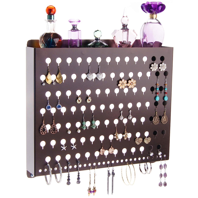 Angelynns Stud Earring Holder Organizer Wall Mount Hanging Closet Jewelry Storage Rack Luka Large White