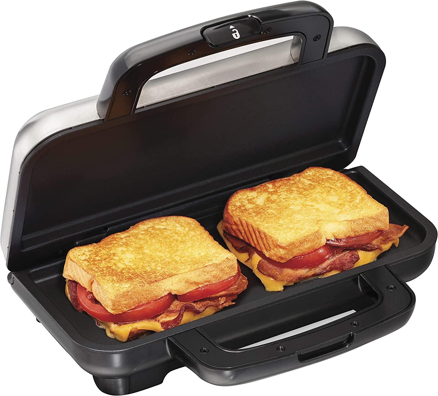 Proctor Silex Deluxe Hot Sandwich Maker, Nonstick Plates, Stainless Steel (25415)