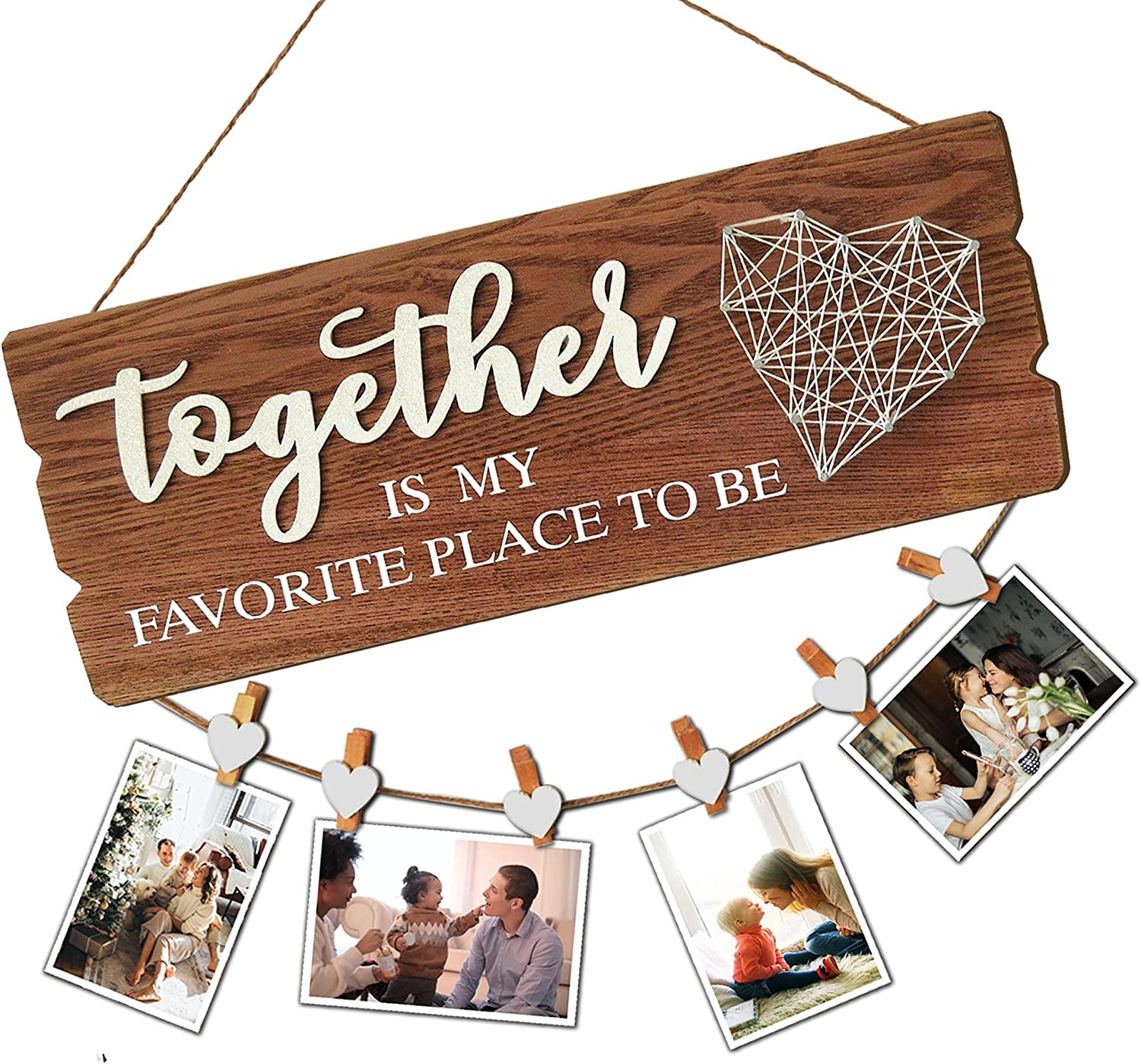 Buecasa Housewarming Gifts New Home Sign Decor - Family Wall Hanging Picture Frame with 6 Heart Clips- Together is My Favorite Place to Be 15.8x6.0 Inches