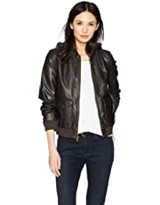Levi's Two-Pocket Faux Leather Hooded Bomber Jacket with Sherpa