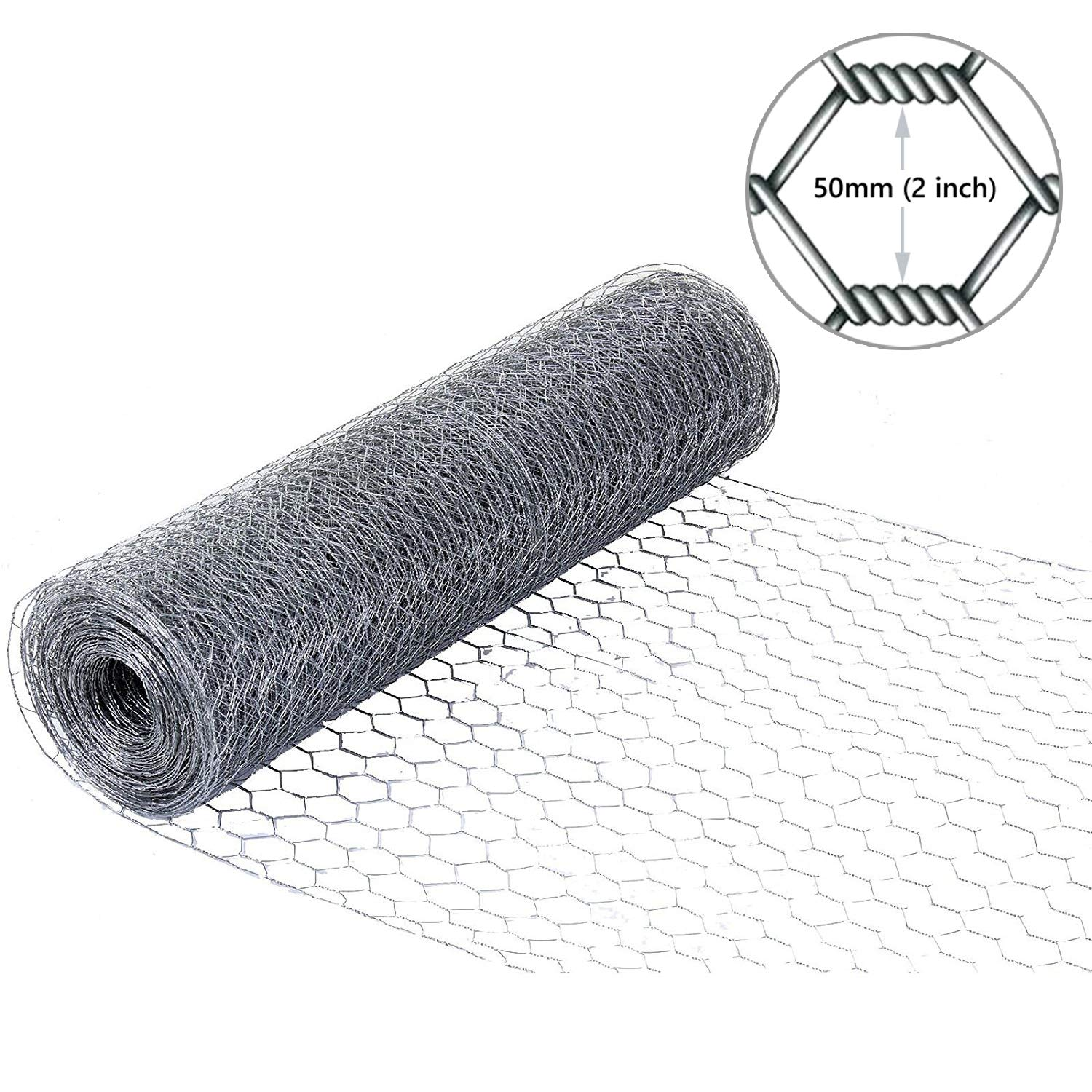 Simpa Galvanised Steel 50M x 0.6M (164FT x 2FT) Chicken Wire Poultry & Livestock Fencing - 2