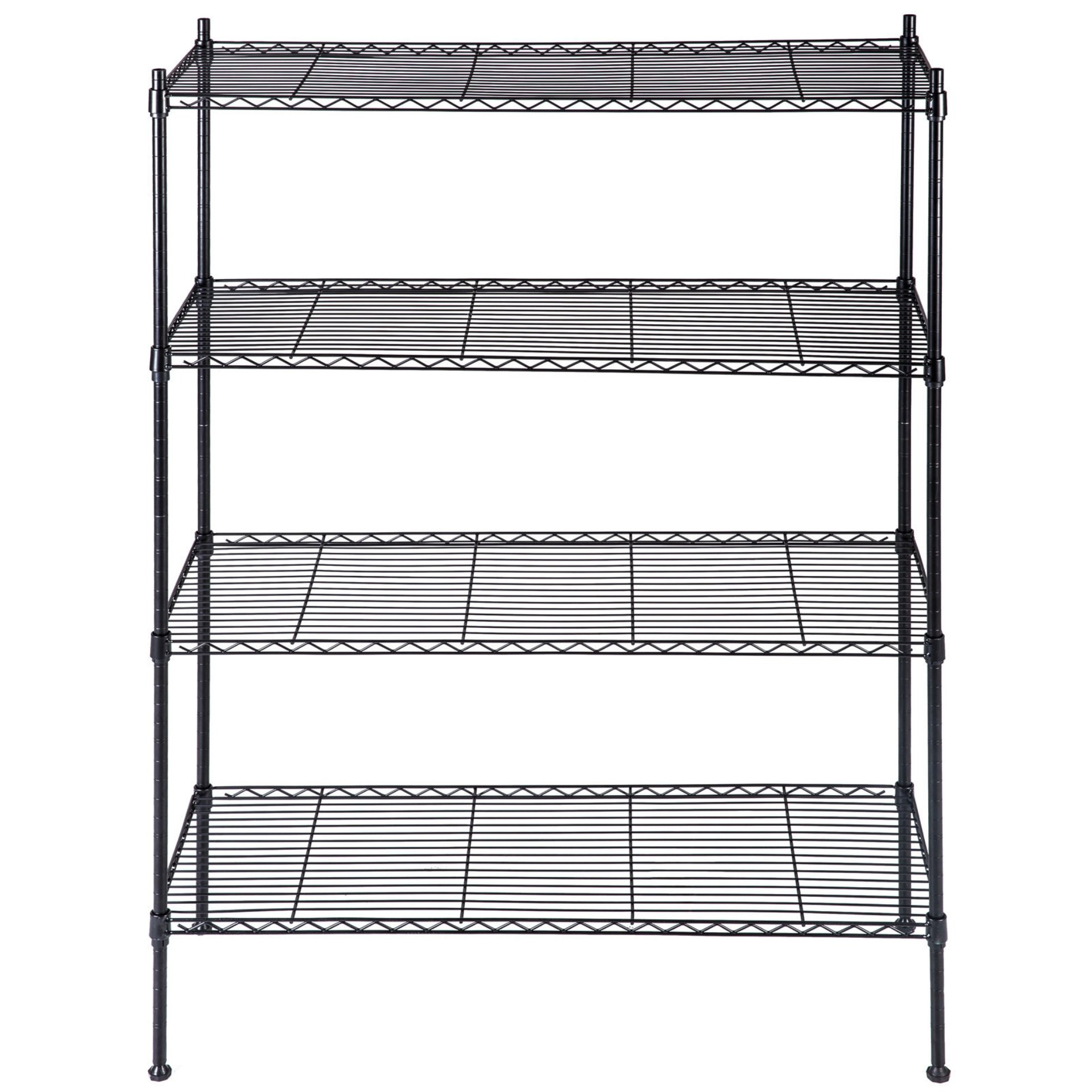 koonlert14 4 Tier Heavy Duty 55''x36''x14'' Layer Wire Shelving Rack Steel Shelf Adjustable Commercial Grade Chrome Wire Black #445