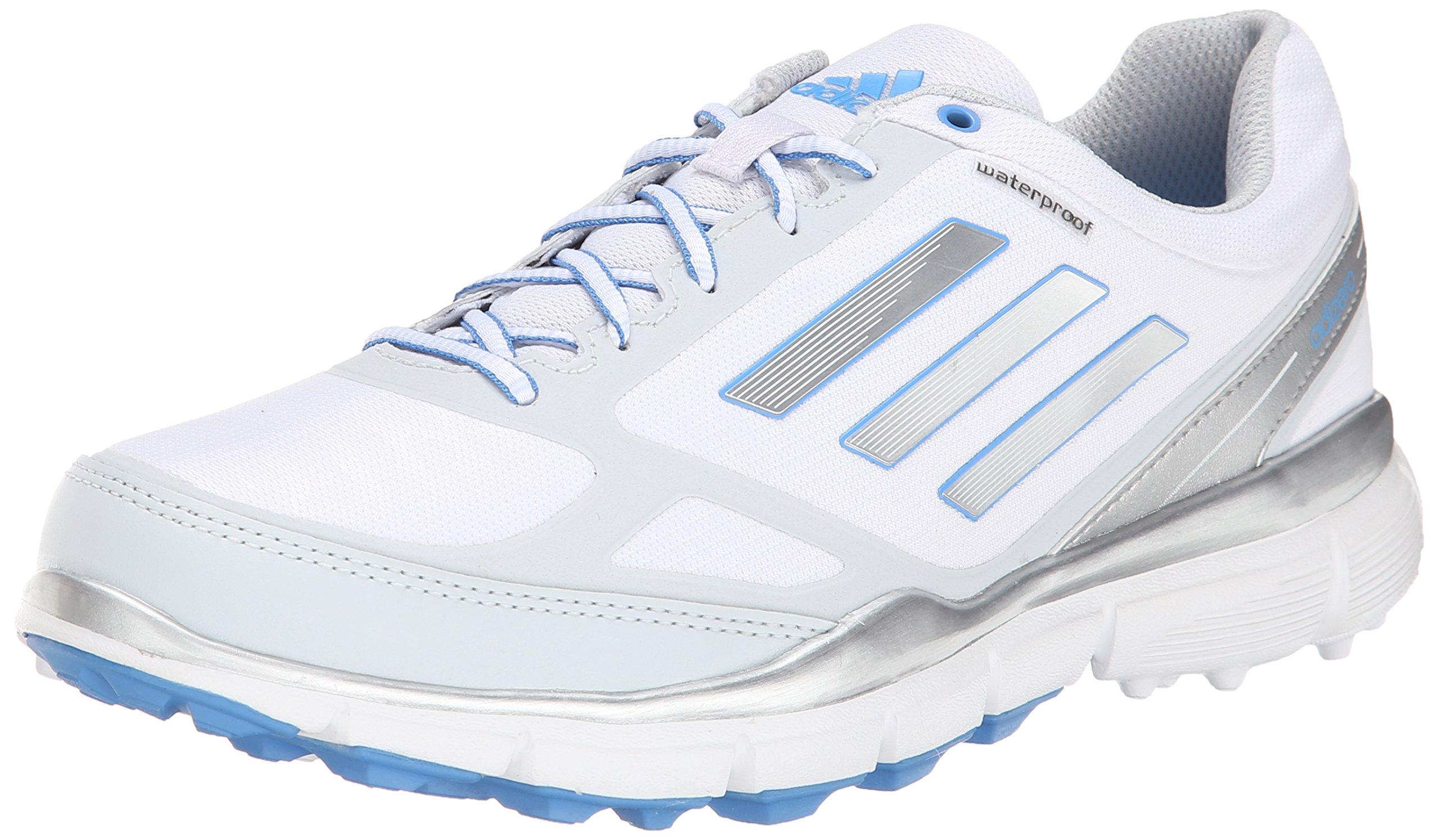adidas Women's W Adizero Sport III Golf Shoe, Running White/Silver Metallic/Lucky Blue, 9 M US